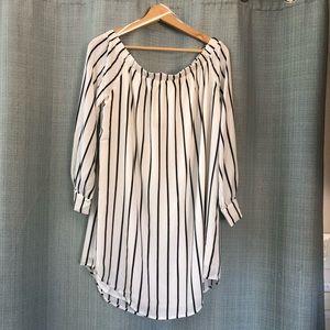 Forever21 Off-shoulder White/Black Dress